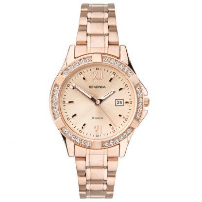 Sekonda Rose Gold Stone Set Watch_0