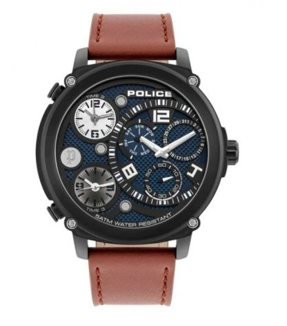 Police Vigor Brown Dial Watch & Brown Leather Strap_0