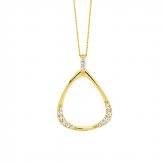 CZ Stg/silver Gold Plated Pendant_0