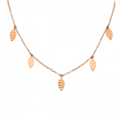 Stainless Steel Leaf Feature Necklace w/ Rose IP Plating_0