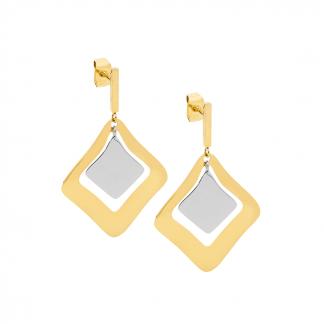 Stainless Steel w/ Gold IP Plating Drop Earrings_0
