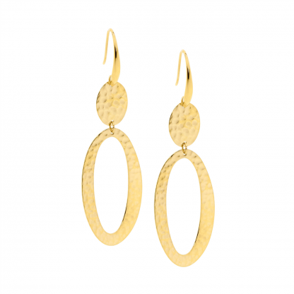 Stainless Steel Hammered Oval Drop Gold Plate Earrings_0