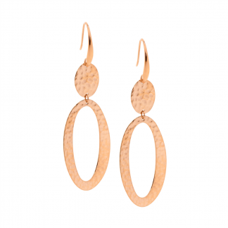 Ellani Stainless Steel Hammered Oval Abstract Drop Earrings_0