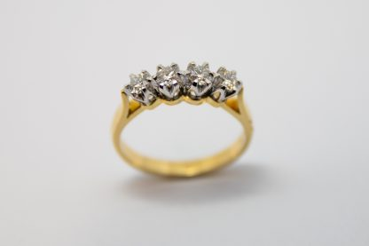 18ct Yellow Gold 4-Stone Diamond Ring_0