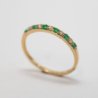 9ct Diamond and Emerald RRing_0