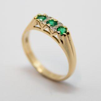 9ct Emerald & Diamond Ring_0
