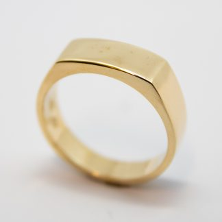 9ct Yellow Gold Gents Flat Top ring_0