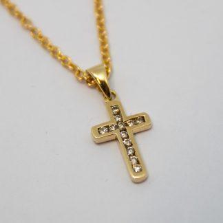 9ct Gold Diamond Cross Pendant_0
