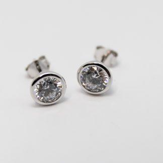 Stg/silver CZ Stud Earring_0
