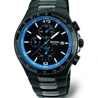 Boccia Gents Titanium Black and Blue Watch._0