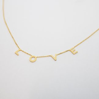 """9ct Gold Solid """"LOVE"""" Adjustable Necklace_0"""
