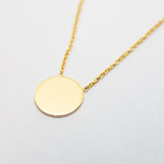 9ct Gold Solid 10mm Disc Necklace_0