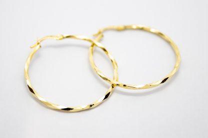 9ct Gold Hollow Diamond Cut Hoop Earrings_0