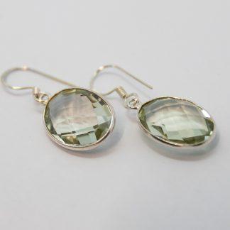 Stg/silver Green Amethyst Earrings_0