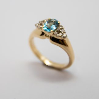 9ct Blue Topaz & Diamond Ring_0