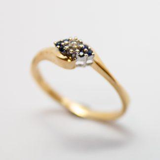 9ct Gold Diamond & Sapphire Ring_0