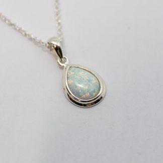 Stg White Opal Teardrop Pendant_0