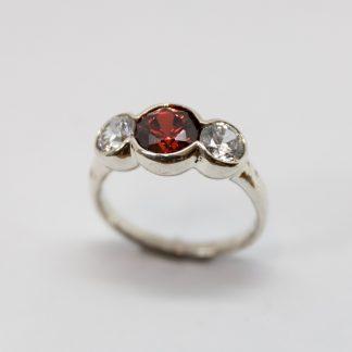 Stg Three Stone CZ Red & White Bubble Ring_0