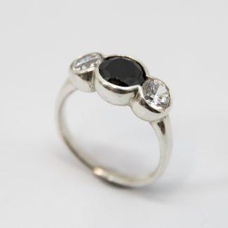 Stg Three Stone Black & White CZ Bubble Ring_0