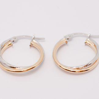 9ct Two-Tone Twist Hoop Earrings_0