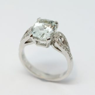 White Gold Pale Blue Topaz & Diamond Ring_0