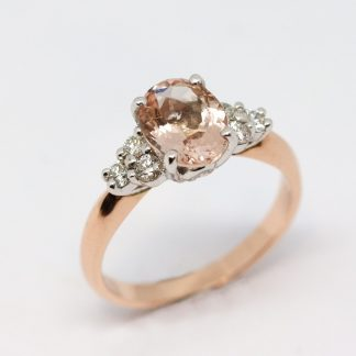 Rose Gold Morganite & Diamond Ring_0