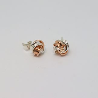 9ct Rose Gold/Stg/Silver Knot Earrings_0