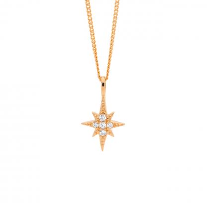Ellani CZ Star Pendant Rose Gold Plated_0
