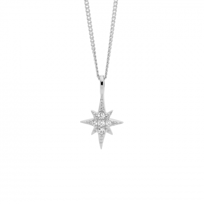 Ellani Stg/silver WH CZ Star Pendant_0