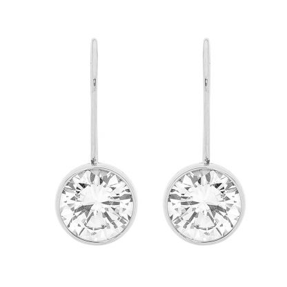 Stainless Steel Bezelset Round CZ Drop Earrings_0