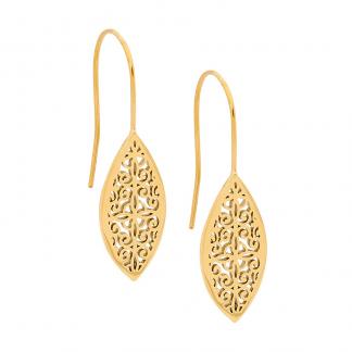 Gold Plate Filligree Leaf Earrings_0